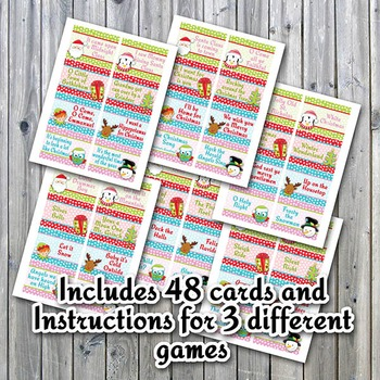 Christmas Song Charades Printable Game - Instructions for 3 different games