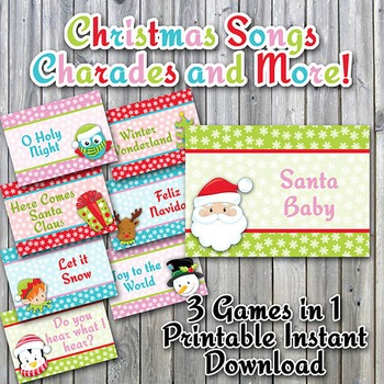 Christmas Song Charades Printable Game - Instructions for