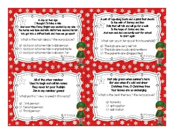 Christmas Song Lyric SCOOT for Theme, Main idea, Point of View, & Inferences!
