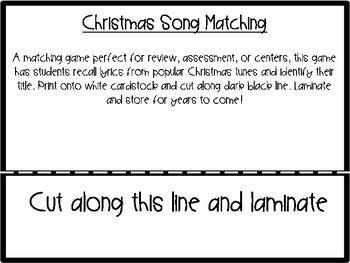 Christmas Song Matching Game