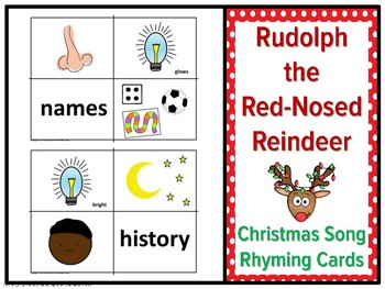 Christmas Song Rhyming Cards, Rudolph the Red Nosed Reindeer, Christmas Music