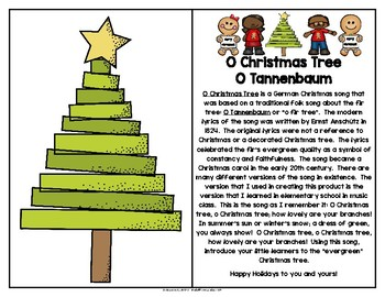 O Christmas Tree Song and Writing Activity in English