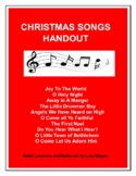 Christmas Songs  - Fill in the blank handout w/TAK.  No pr