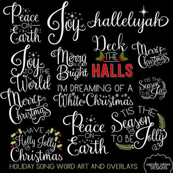 Christmas Songs  - Holiday Inspirational  Word Art Photo Overlays Digital