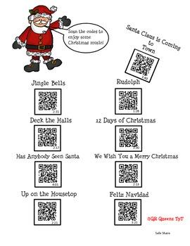 Freebie Christmas Songs using QR Codes
