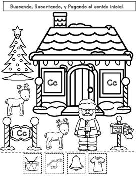 Christmas Sonido Inicial Worksheets:  Actividades para Kindergarten