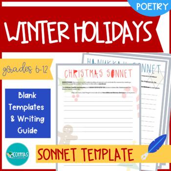 Christmas & Hanukkah-Themed Sonnet-Writing Templates (4-Pack)