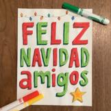 Christmas ~Spanish Feliz Navidad ~Word Wall ~bulletin board ~poster ~no prep