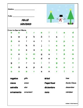 Christmas - Spanish Word Search - Elementary