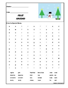 Christmas - Spanish Word Search - Middle School