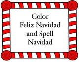 Christmas Spanish coloring worksheet and spelling tree (Feliz Navidad)