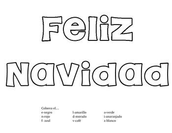 Christmas Spanish coloring worksheet and spelling tree Feliz Navidad
