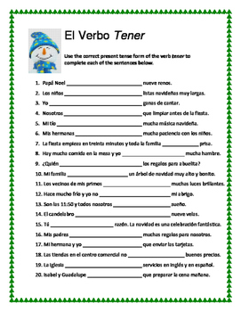 Christmas Spanish review worksheets with SER, ESTAR, and TENER
