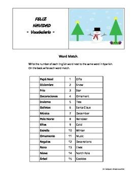 Christmas Spanish/English WORD MATCH  3rd - 5th gr.