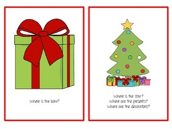 """Christmas Spatial Concepts, Prepositions, and """"Where"""" Question Flash Cards!"""