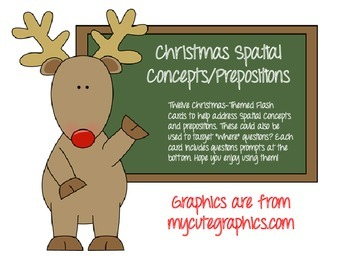 "Christmas Spatial Concepts, Prepositions, and ""Where"" Question Flash Cards!"