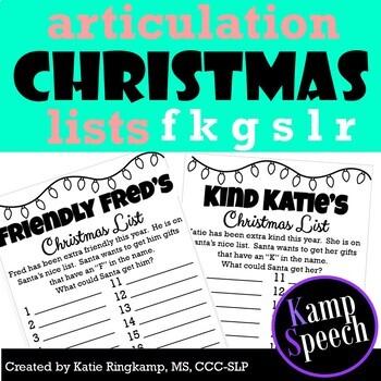 Christmas Speech Activities: Articulation Christmas Lists