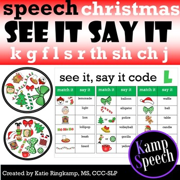 Christmas Speech Activities: See It, Say it