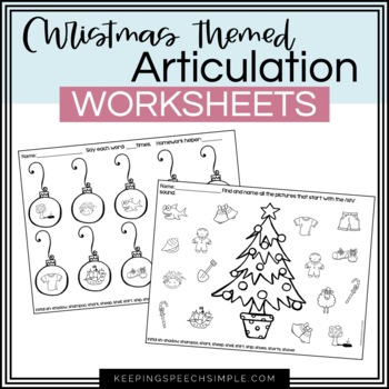 Christmas Speech No Prep Articulation Worksheets for Speech Therapy