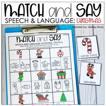 Christmas Speech Therapy Activities | Match and Say