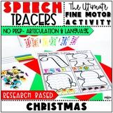 Christmas Speech Therapy Activity: Preschool Fine Motor Tracers