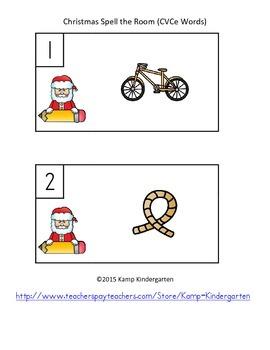 Christmas Spell the Room (CVCe Words)