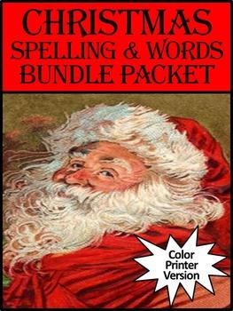 Christmas Spelling & Words Bundle Packet