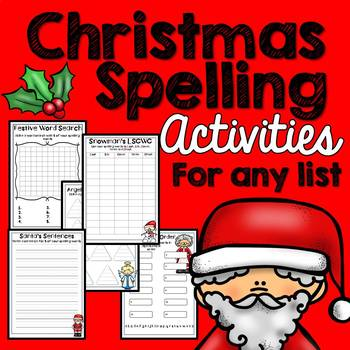 Christmas Spelling Activities x 20 (ANY Word List)