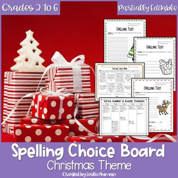 EDITABLE Christmas Spelling Choice Board