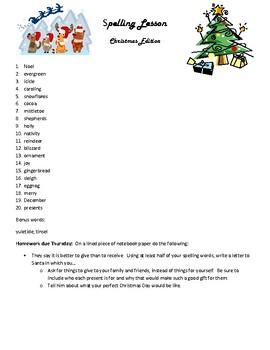 Christmas Spelling Homework