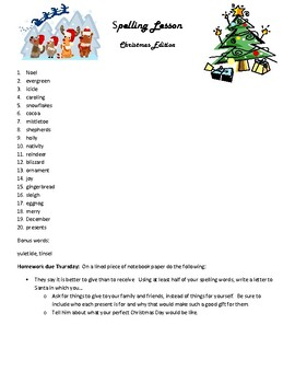 Christmas Spelling Words.Christmas Spelling Homework
