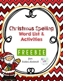 Christmas Spelling List and Activities FREEBIE