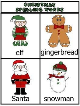 Christmas Spelling Packet - Word List, Worksheets, Flash Cards