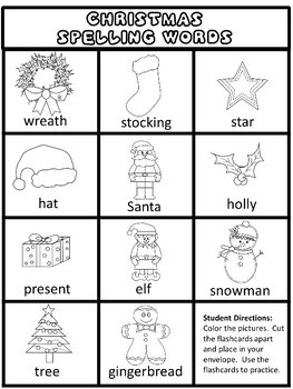 Christmas Spelling Words.Christmas Spelling Packet Word List Worksheets Flash Cards