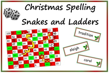Christmas Spelling Snakes and Ladders