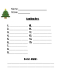 Christmas Spelling Test Template