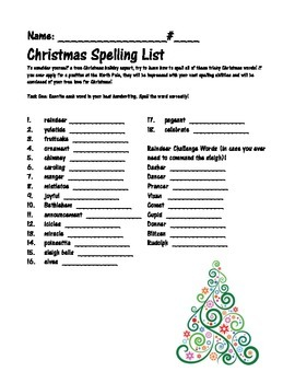 Christmas Spelling Words.Christmas Spelling Words Packet
