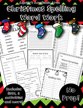 Christmas Spelling Word Work   ~NO PREP~