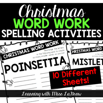 Christmas Spelling Word Work Unscramble Activities Word Creator