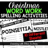 Christmas Spelling Word Work Unscramble Activities Word Creator