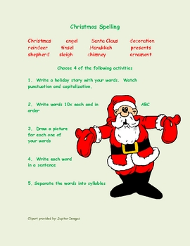 Christmas Spelling Words