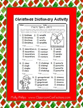 Christmas Worksheet: Spelling and Dictionary Skills Activity