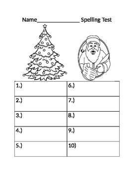 Christmas Spelling test