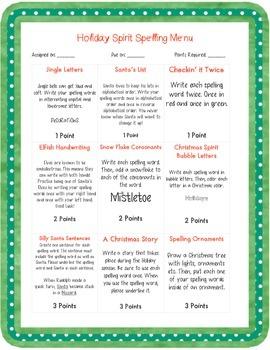 Holiday Spirit Spelling Menu
