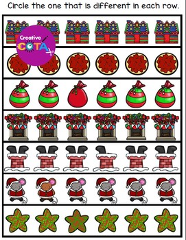 Christmas Spot the Difference Visual Perception Activities