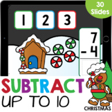 Christmas Stacked Subtraction up to 10 Kindergarten Math G