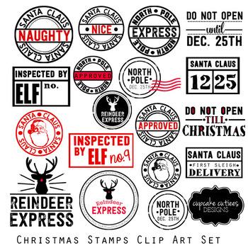 Christmas Stamps-  Digital Clip Art Set
