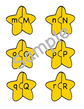 Christmas Star Alphabet Letter Matching Puzzle Game or Center Activity