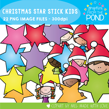 Christmas Star Stick Kids - Clipart for Teaching