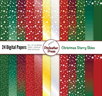 Christmas Starry Skies Digital Papers - 8.5x11